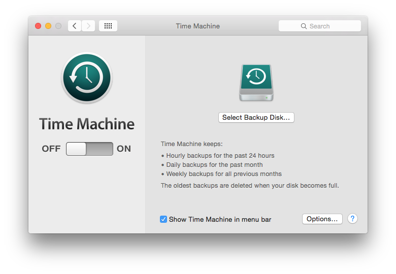 Time Machine - Settings